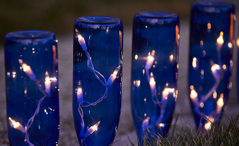 wine bottle pathway lights