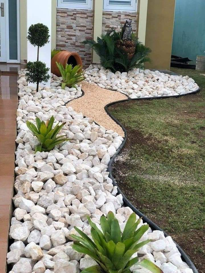 Edging stones in yard